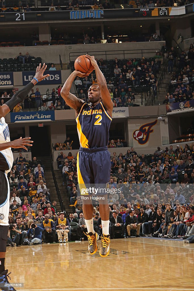 Rodney Stuckey of the Indiana Pacers shoots the ball against the Orlando Magic on March 10 2015 at Bankers Life Fieldhouse in Indianapolis Indiana...