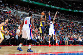 Rodney Stuckey of the Indiana Pacers shoots the ball against the Detroit Pistons on April 10 2015 at The Palace of Auburn Hills in Auburn Hills...