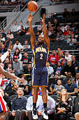 Rodney Stuckey of the Indiana Pacers shoots the ball against the Detroit Pistons during the game on November 2 2015 at The Palace of Auburn Hills in...