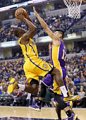 Rodney Stuckey of the Indiana Pacers shoots the ball during the game against the Los Angeles Lakers during the game at Bankers Life Fieldhouse on...