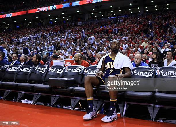 Rodney Stuckey of the Indiana Pacers sits on the bench in the second half of Game Seven of the Eastern Conference Quarterfinals against the Toronto...