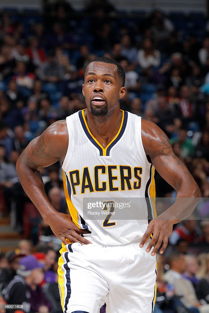 Rodney Stuckey of the Indiana Pacers stands on the court during the game against the Sacramento Kings on December 5 2014 at Sleep Train Arena in...