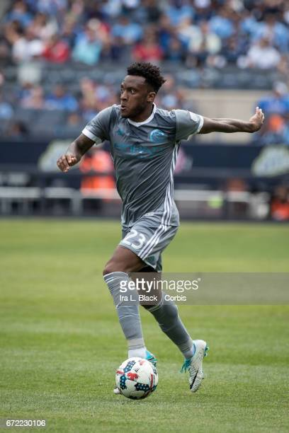 Rodney Wallace of New York City FC drives the ball toward the goal during the MLS match between New York City FC vs Orlando City SC on April 23 2017...