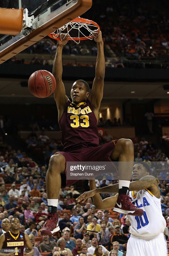 Rodney Williams #33 of the Minnesota Golden Gophers dunks the ball over <a gi-track='captionPersonalityLinkClicked' href=/galleries/search?phrase=Larry+Drew+II&family=editorial&specificpeople=5088949 ng-click='$event.stopPropagation()'>Larry Drew II</a> #10 of the UCLA Bruins during the second round of the 2013 NCAA Men's Basketball Tournament at The Frank Erwin Center on March 22, 2013 in Austin, Texas.
