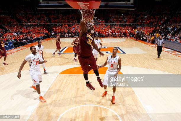 Rodney Williams of the Minnesota Golden Gophers dunks the ball against the Illinois Fighting Illini during the game at Assembly Hall on January 9...
