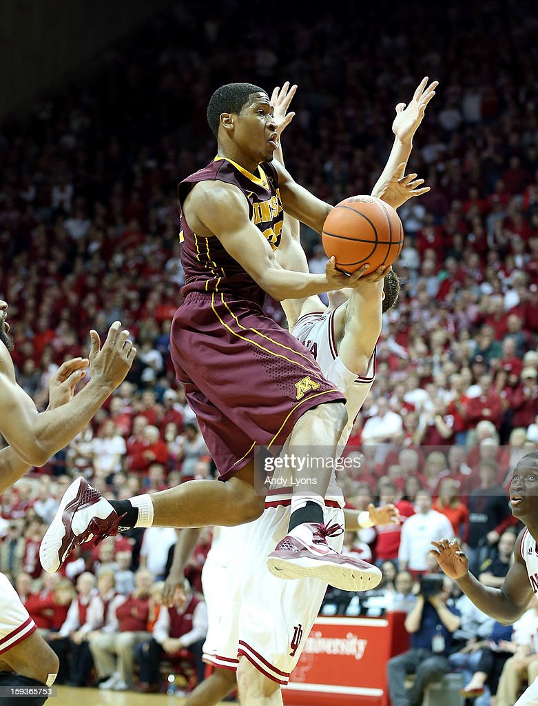 Rodney Williams #33 of the Minnesota Golden Gophers shoots the ball during the Big 10 game against the Indiana Hoosiers at Assembly Hall on January 12, 2013 in Bloomington, Indiana.