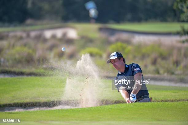 Rodolfo Cazaubon of Mexico hits out of a bunker on the 14th hole during the third round of the PGA TOUR Latinoamerica 64 Aberto do Brasil at the...