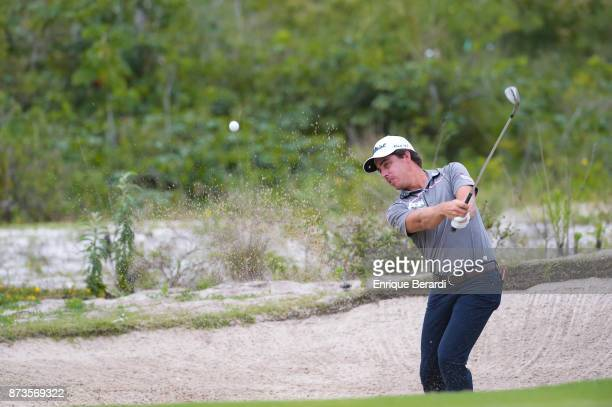 Rodolfo Cazaubon of Mexico hits out of the bunker on the 14th hole during the final round of the PGA TOUR Latinoamerica 64 Aberto do Brasil at the...