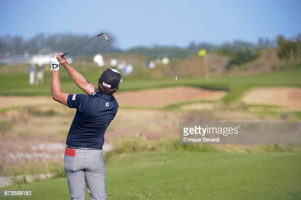 Rodolfo Cazaubon of Mexico tees off on the 17th hole during the third round of the PGA TOUR Latinoamerica 64 Aberto do Brasil at the Olympic Golf...