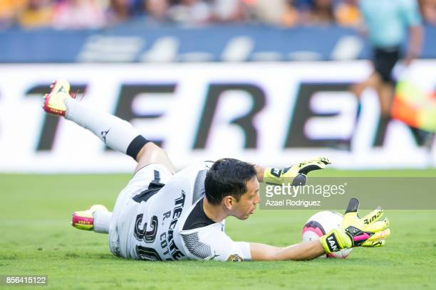 Rodolfo Cota goalkeeper of Chivas blocks the ball during the 12th round match between Tigres UANL and Chivas as part of the Torneo Apertura 2017 Liga...