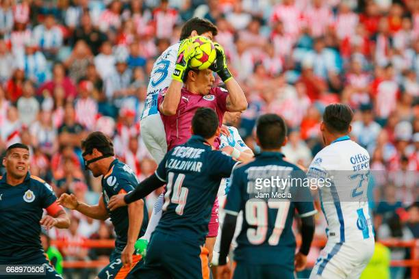 Rodolfo Cota goalkeeper of Chivas catches the ball during a match between Pachuca and Chivas as part of the the Clausura Tournament 2017 league...