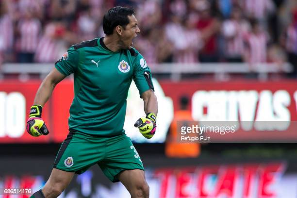 Rodolfo Cota goalkeeper of Chivas celebrates after qualifying to the final after the semi final second leg match between Chivas and Toluca as part of...