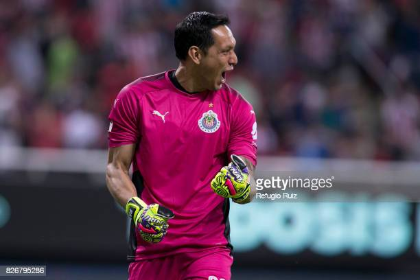 Rodolfo Cota goalkeeper of Chivas celebrates the opening goal of his team scored by Angel Zaldivar during the third round match between Chivas and...