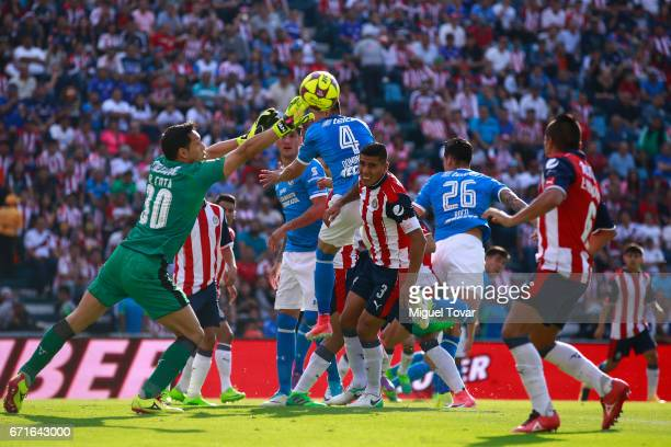 Rodolfo Cota goalkeeper of Chivas defends during the 15th round match between Cruz Azul and Chivas as part of the Torneo Clausura 2017 Liga MX at...