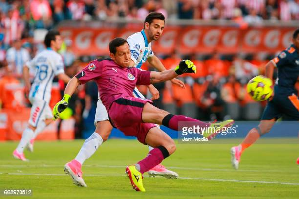 Rodolfo Cota goalkeeper of Chivas kicks the ball during a match between Pachuca and Chivas as part of the the Clausura Tournament 2017 league...