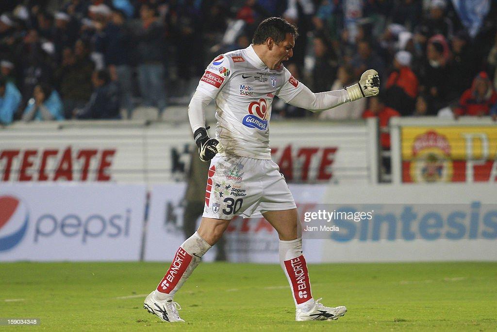 Rodolfo Cota of Pachuca celebrates a goal against Atlante during a match between Pachuca v Atlante as parte of the Clausura 2013 Liga MX at Hidalgo...