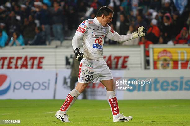 Rodolfo Cota of Pachuca celebrates a goal against Atlante during a match between Pachuca v Atlante as parte of the Clausura 2013 Liga MX at Hidalgo...