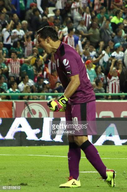 Rodolfo Cota the goalkeaper of Guadalajara celebrate their goal against Leon during their Mexican Clausura 2016 Tournament football match at Nou Camp...