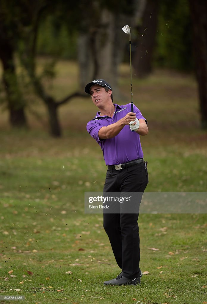 Rodolfo E. Cazaubon of Mexico hits a shot on the fourth hole during the third round of the Web.com Tour Club Colombia Championship Presented by Claro at Bogotá Country Club on February 6, 2016 in Bogotá, Colombia.