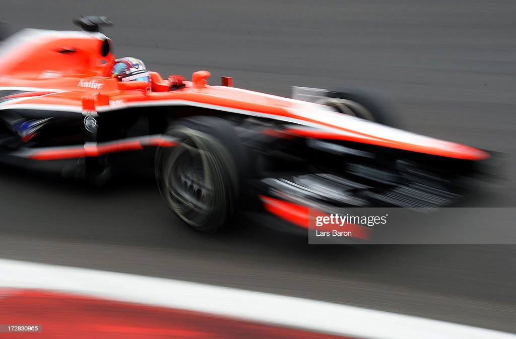 Rodolfo González of Venezuela and Marussia drives during practice for the German Grand Prix at the Nuerburgring on July 5, 2013 in Nuerburg, Germany.