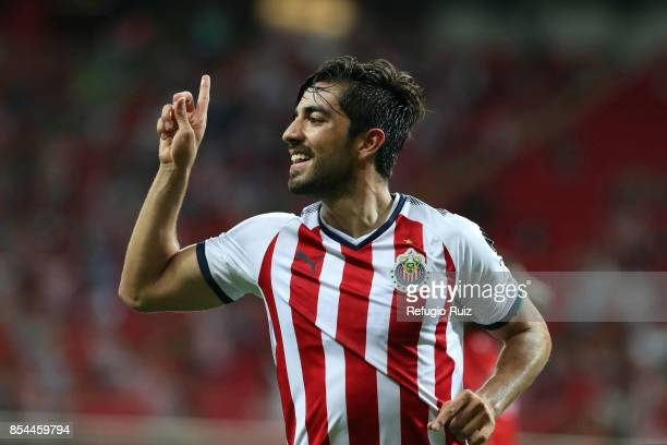 Rodolfo Pizarro of Chivas celebrates his team's first goal during the 11th round match between Chivas and Lobos BUAP as part of the Torneo Apertura...