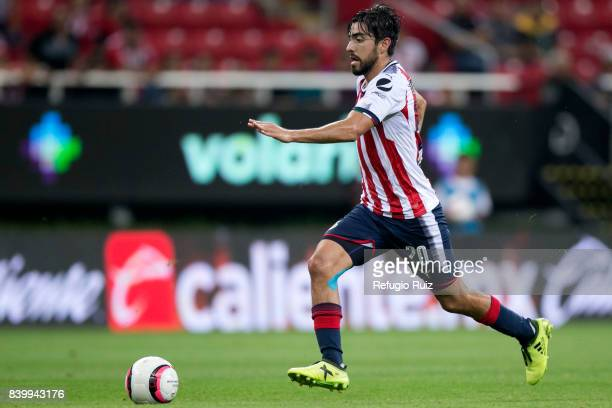 Rodolfo Pizarro of Chivas drives the ball during the seventh round match between Chivas and Queretaro as part of the Torneo Apertura 2017 Liga MX at...