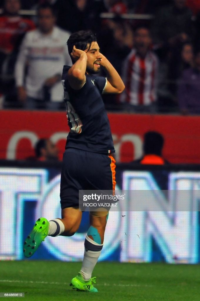 Rodolfo Pizarro of Guadalajara celebrates his goal against Toluca during the Mexican Clausura 2017 Tournament football first leg semifinal match at Nemesio Diez stadium on May 18, 2017, in Toluca, Mexico. /