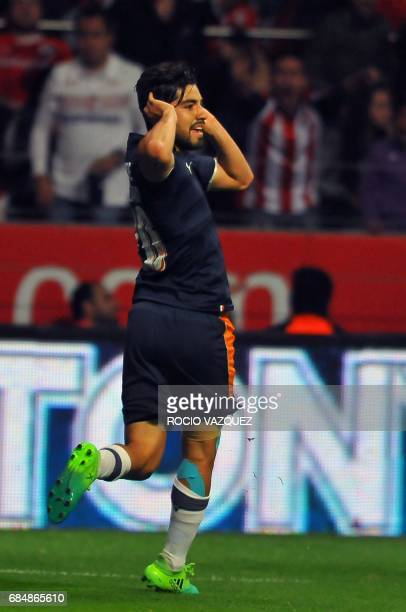 Rodolfo Pizarro of Guadalajara celebrates his goal against Toluca during the Mexican Clausura 2017 Tournament football first leg semifinal match at...