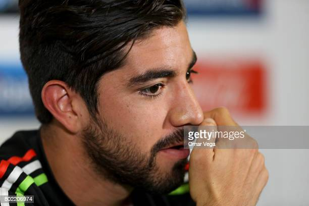 Rodolfo Pizarro of Mexico attends a press conference during a training session of the Mexico National Team ahead its participation in the Concacaf...