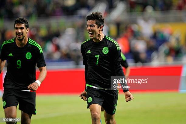 Rodolfo Pizarro of Mexico celebrates after scoring the second goal of his team during the international friendly match between Mexico and Senegal at...