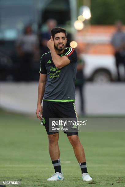 Rodolfo Pizarro of Mexico gestures during the Mexico National Team training session ahead it's match against Honduras at Grand Canyon University on...