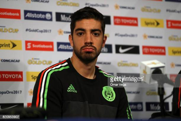 Rodolfo Pizarro of Mexico looks on during the Mexico National Team press conference at Rose Bowl Stadium on July 22 2017 in Pasadena California