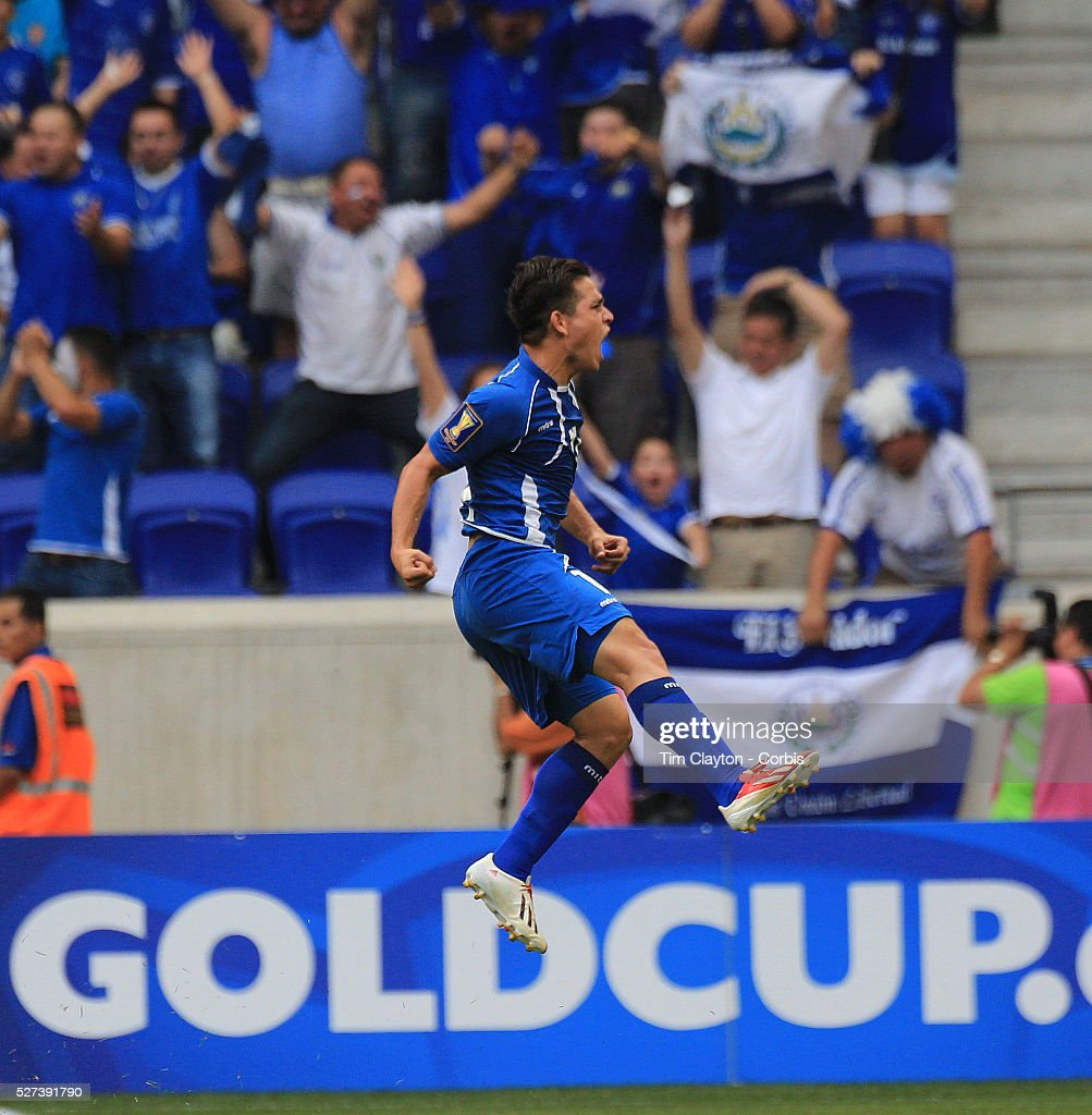 Rodolfo Zelaya El Salvador celebrates after scoring the first of his two goals from a free kick during the El Salvador Vs Trinidad and Tobago...