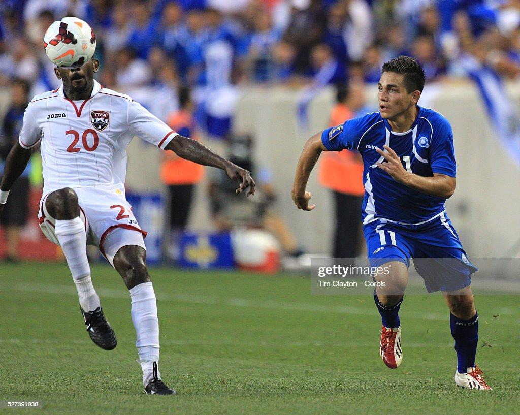 Rodolfo Zelaya El Salvador challenges Seon Power Trinidad and Tobago during the El Salvador Vs Trinidad and Tobago CONCACAF Gold Cup group B football...