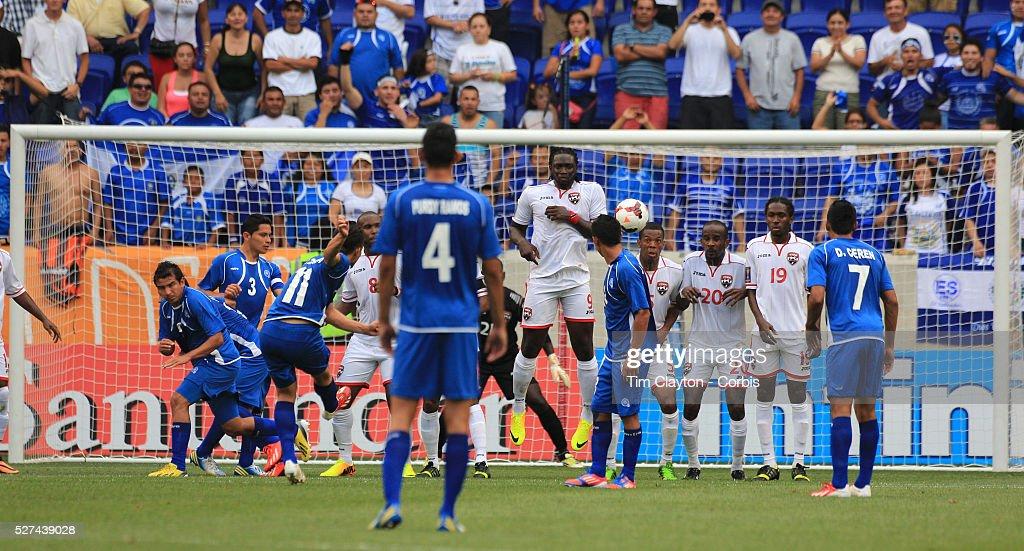 Rodolfo Zelaya El Salvador scores the first of his two goals as he strikes a free kick over the wall during the El Salvador Vs Trinidad and Tobago...