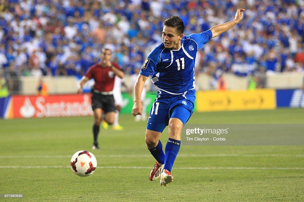 Rodolfo Zelaya El Salvador shoots during the El Salvador Vs Trinidad and Tobago CONCACAF Gold Cup group B football match at Red Bull Arena Harrison...