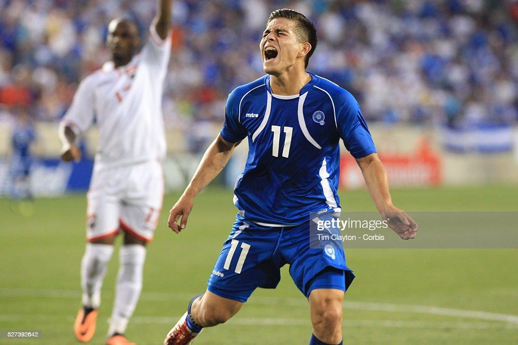 Rodolfo Zelaya El Salvador shows his anguish after missing a hattrick chance during the El Salvador Vs Trinidad and Tobago CONCACAF Gold Cup group B...