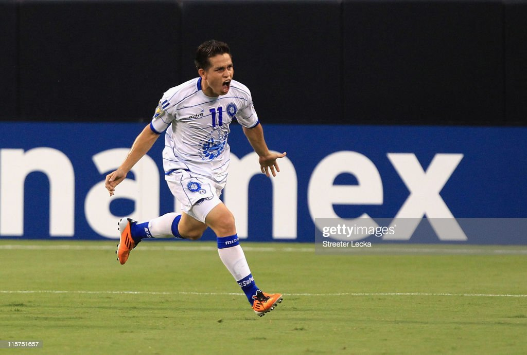 Rodolfo Zelaya of El Salvador celebrates after scoring a goal in the first half against Costa Rica during their game in the CONCACAF Gold Cup at Bank...