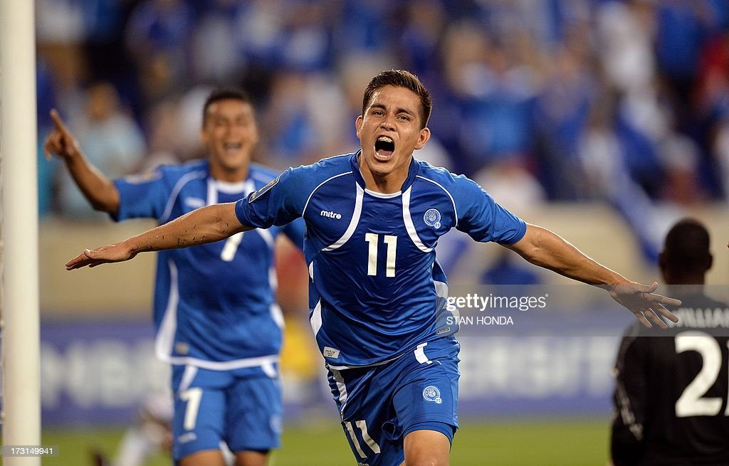 Rodolfo Zelaya of El Salvador celebrates his 2nd half goal against Trinidad Tobago during the 2013 CONCACAF Gold Cup match July 8 2013 at Red Bull...