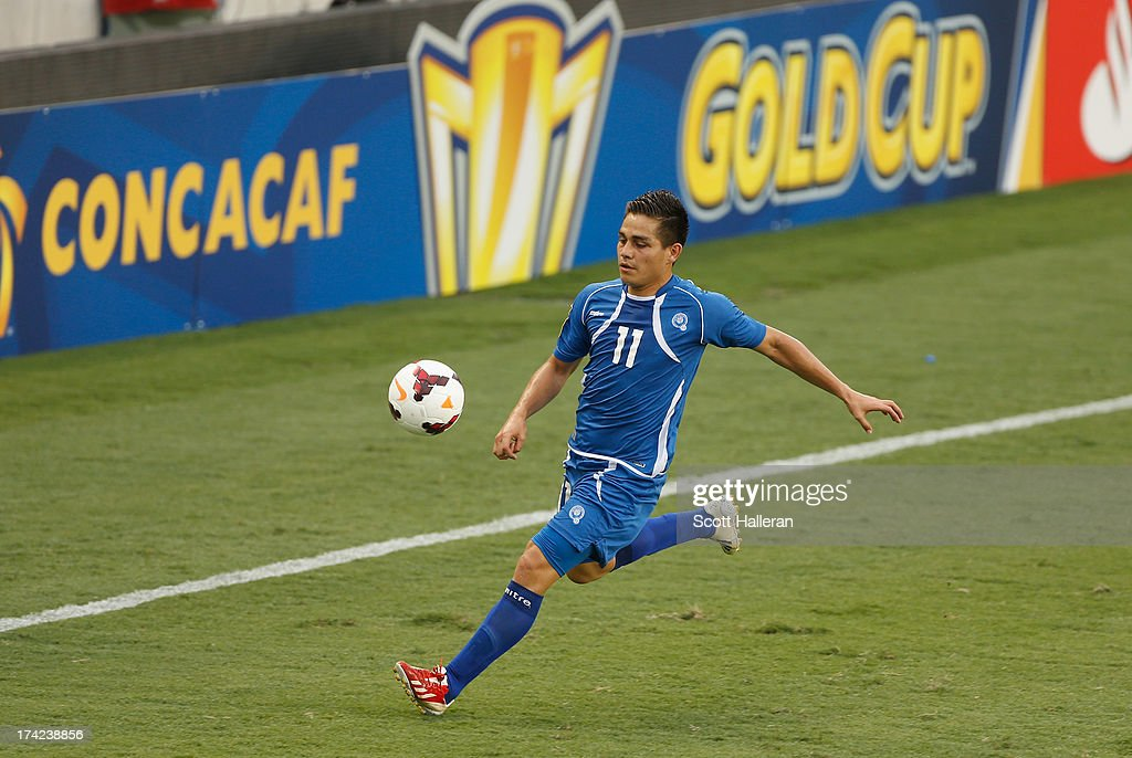 Rodolfo Zelaya of El Salvador plays a ball against Haiti during the CONCACAF Gold Cup game at BBVA Compass Stadium on July 15 2013 in Houston Texas
