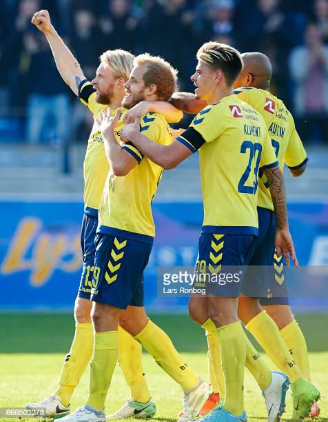 Rodolph Austin Johan Larsson Teemu Pukki Jan Kliment and Hany Mukhtar of Brondby IF of Brondby IF celebrate after scoring their second goal during...