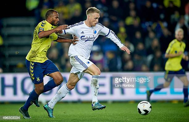 Rodolph Austin of Brondby IF and Nicolai Jorgensen of FC Copenhagen compete for the ball during the Danish Alka Superliga match between Brondby IF...