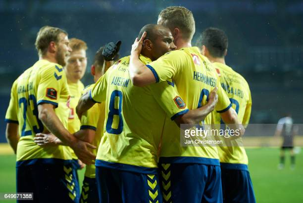Rodolph Austin of Brondby IF and teammates celebrating his 10 goal during the Danish Cup DBU Pokalen match between BK Marienlyst and Brondby IF at...