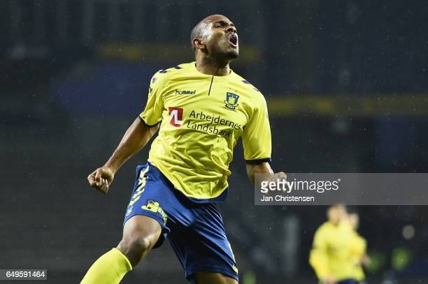 Rodolph Austin of Brondby IF celebrate after his 10 goal during the Danish Cup DBU Pokalen match between BK Marienlyst and Brondby IF at Brondby...
