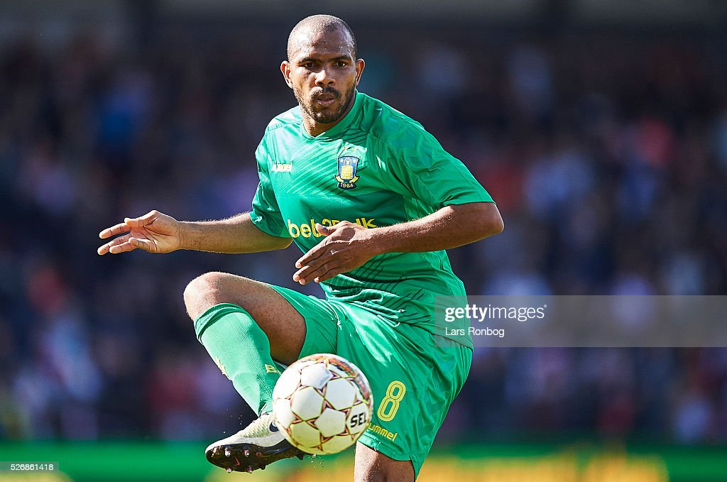 Rodolph Austin of Brondby IF controls the ball during the Danish Alka Superliga match between AaB Aalborg and Brondby IF at Nordjyske Arena on May 1, 2016 in Aalborg, Denmark.