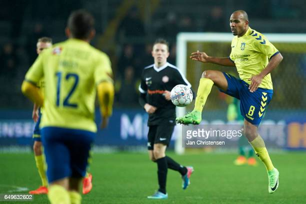 Rodolph Austin of Brondby IF in action during the Danish Cup DBU Pokalen match between BK Marienlyst and Brondby IF at Brondby Stadion on March 08...