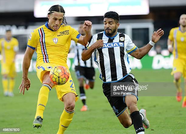 Rodrigo Aguirre of Udinese Calcio competes with Matias Silvestre of UC Sampdoria during the Serie A match between Udinese Calcio and UC Sampdoria at...