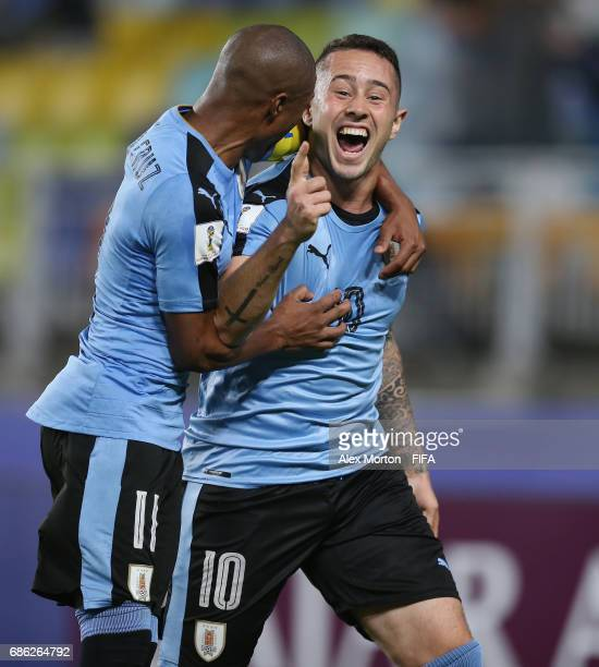 Rodrigo Amaral of Uruguay celebrates after scoring their first goal during the FIFA U20 World Cup Korea Republic 2017 group D match between Italy and...