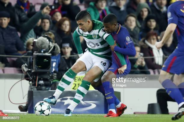 Rodrigo Battaglia of Sporting Club de Portugal Nelson Semedo of FC Barcelona during the UEFA Champions League group D match between FC Barcelona and...