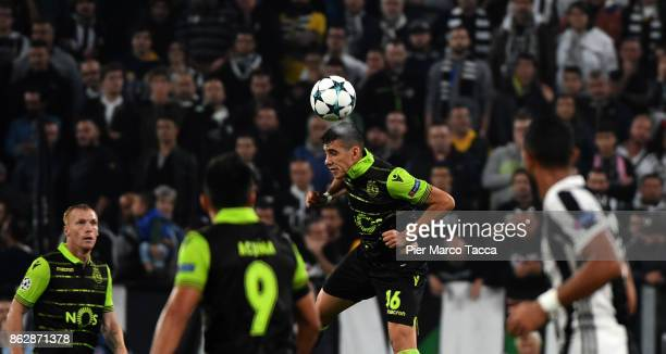 Rodrigo Battaglia of Sporting CP hits the ball with the head during the UEFA Champions League group D match between Juventus and Sporting CP at...